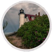 Point Betsie Lighthouse Round Beach Towel