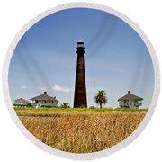 Point Bolivar Lighthouse Round Beach Towel