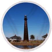 Point Bolivar Lighthouse Tx Round Beach Towel