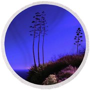 Point Fermin In Infrared Round Beach Towel
