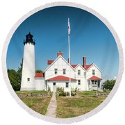 Point Iroquois Lighthouse Round Beach Towel