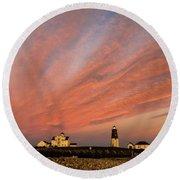 Point Judith Lighthouse Sunset Round Beach Towel