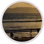 Point Loma California Surfers Round Beach Towel