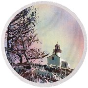 Point Loma Lighthouse- San Diego Round Beach Towel