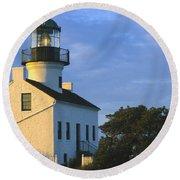 Point Loma Lighthouse Round Beach Towel