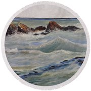 Point Of Action Round Beach Towel