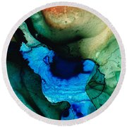 Point Of Power - Abstract Painting By Sharon Cummings Round Beach Towel