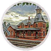 Point Of Rocks Train Station Round Beach Towel