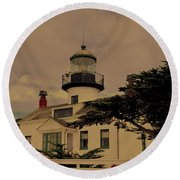 Point Pinos Lighthouse Antiqued Round Beach Towel