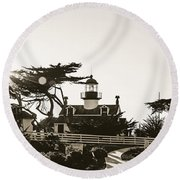 Point Pinos Lighthouse Round Beach Towel