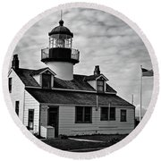 Point Pinos Pacific Grove Lighthouse Round Beach Towel