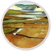 Point Reyes, Ca, Drakes Beach Estuary, Midday Tide, Watercolor Plein Air Round Beach Towel