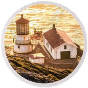 Point Reyes Lighthouse 2 Round Beach Towel