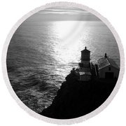 Point Reyes Lighthouse - Black And White Round Beach Towel