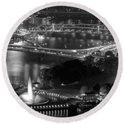 Point State Park In Black And White Round Beach Towel