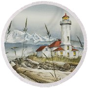 Point Wilson Lighthouse Round Beach Towel