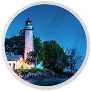 Pointe Aux Barques Lighthouse At Dawn Round Beach Towel