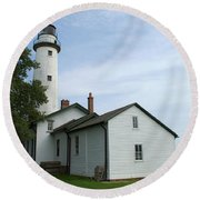 Pointe Aux Barques Lighthouse Round Beach Towel