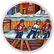 Outdoor Hockey Rink Painting  Devils Vs Rangers Sticks And Jerseys Row House In Winter C Spandau Round Beach Towel
