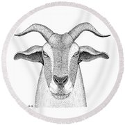 Farm Goat In Pointillism Round Beach Towel