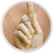 Pointing Finger, Statue Of Constantine, Rome, Italy Round Beach Towel