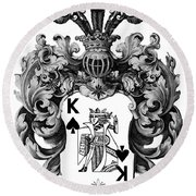 Poker King Spades Black And White Round Beach Towel