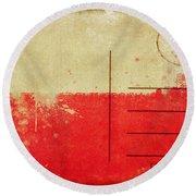 Poland Flag Postcard Round Beach Towel