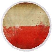 Poland Flag  Round Beach Towel