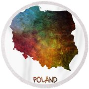 Poland Map Polska Map Round Beach Towel