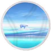 Polar Bear - 3d Render Round Beach Towel