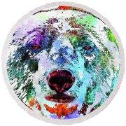 Polar Bear Colored Grunge Round Beach Towel