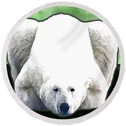 Polar Bear - Green Round Beach Towel
