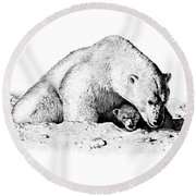 Polar Bear Protects Her Young Round Beach Towel