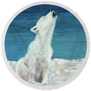 Polar Pup Round Beach Towel