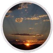 Polarized Sunset  Round Beach Towel