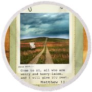 Polaroid On Weathered Wood With Bible Verse Round Beach Towel