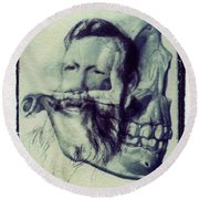 Polaroid Transfer Skull Anatomy Teeth Skeleton Beard Round Beach Towel