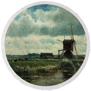 Polder Landscape With Windmill Near Aboude Round Beach Towel