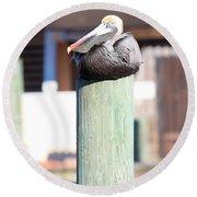 Pole Top Pelican Round Beach Towel