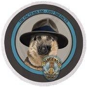 Police Dog Round Beach Towel