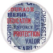 Police Inspirational 1 Round Beach Towel
