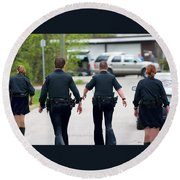 Police Pants Round Beach Towel