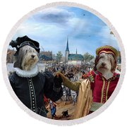 Polish Lowland Sheepdog Art Canvas Print - Prince And Princess Of Orange Round Beach Towel