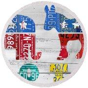 Political Party Election Vote Republican Vs Democrat Recycled Vintage Patriotic License Plate Art Round Beach Towel