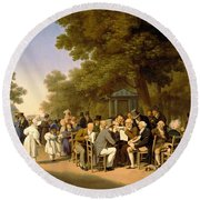 Politicians In The Tuileries Gardens Round Beach Towel by Louis Leopold Boilly