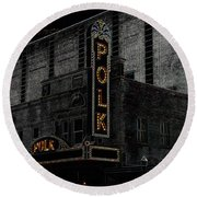 Polk Movie House Round Beach Towel by David Lee Thompson