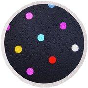 Polka Dot Umbrella Round Beach Towel