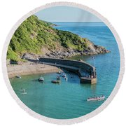 Polkerris Beach And Harbour Round Beach Towel