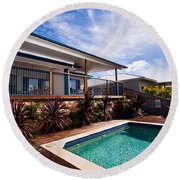 Poll And House With Deck Round Beach Towel