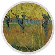 Pollarded Willows And Setting Sun Round Beach Towel